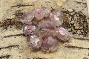 Glaspärla Hjärta 15x15x8 mm, Rosa (st)