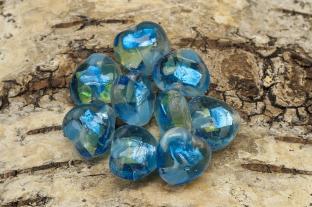 Glaspärla Hjärta 15x15x8 mm, Blå (st)