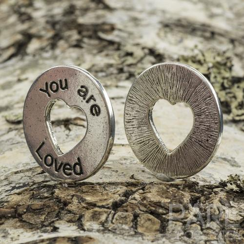 Budskapsring You are loved 24 mm, Antiksilver (st)