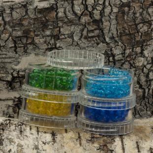 Rör med runda akrylpärlor 6 mm, Färgmix (cirka 360st)