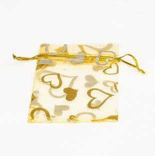 Organzapåse med hjärtan 9x7 cm, Guldfärg (st)