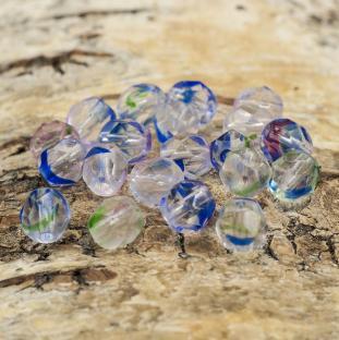 Glaspärla facetterad 6 mm, Blåmix (20st)