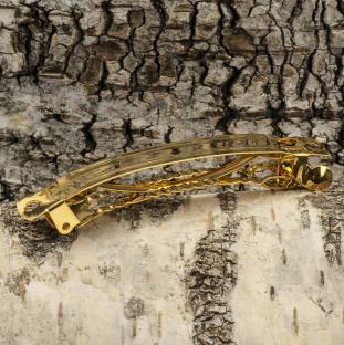 Hårspänne 80 mm, Guldfärg (st)