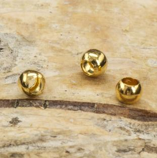 Klämpärla rund 3 mm, Guldfärg (ca 50 st)