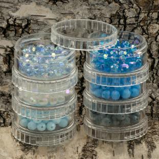 Rör med facetterade akrylpärlor 6 mm, Blåmix (cirka 330st)