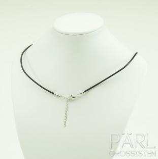 Halsband äkta läder 44 cm, Mörkbrun (st)