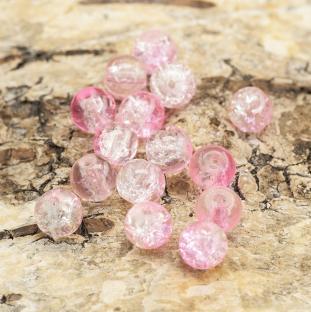 Krackelerad glaspärla rund 6 mm, Rosa/Klar (40st)