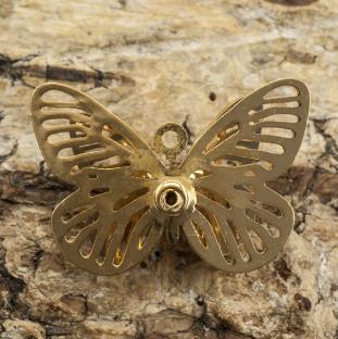 Berlock Fjäril med strass 23x16 mm, Guldfärg (st)