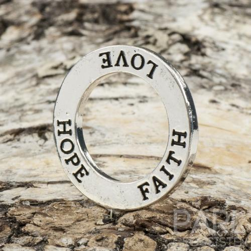 "Budskapsring ""LOVE HOPE FAITH"" 23 mm, Antiksilver (st)"
