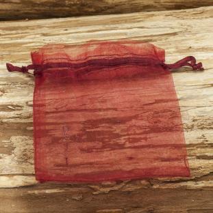 Tygpåse organza 10x12 cm, Röd (st)