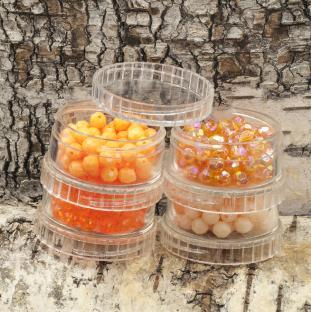Rör med facetterade akrylpärlor 6 mm, Orangemix (cirka 330st)