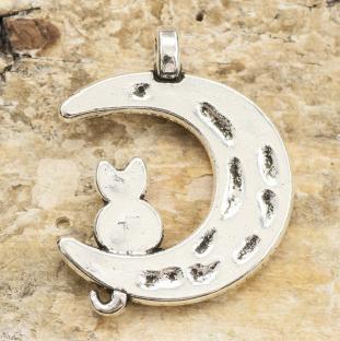 Berlock Katt i måne 22x18 mm, Antiksilver (4st)