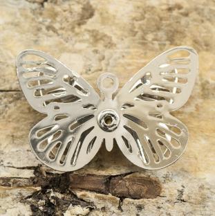 Berlock Fjäril med strass 23x16 mm, Silverfärg (st)