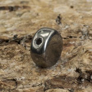 Glaspärla Lins 6 mm, Hematit (10st)