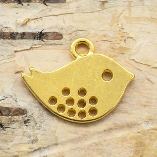 Berlock Fågel 13x16 mm, Guldfärg(5st)