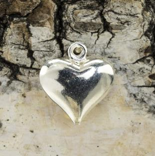 Berlock Hjärta 11x12x4 mm, Silverfärg (5st)