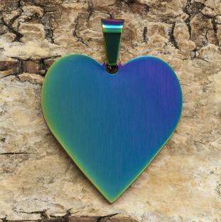 Berlock Hjärta Rostfritt Stål 24x25, Multifärg (st)