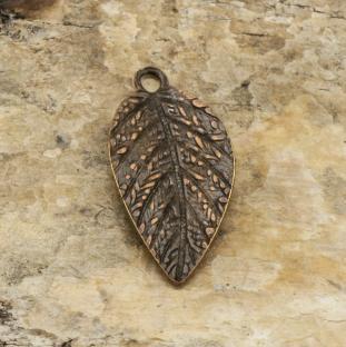 Hänge Löv 7,5x15 mm, Antikkoppar (10st)