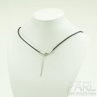 Halsband äkta läder 44 cm, Svart (st)