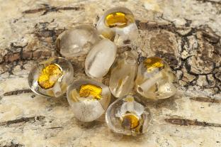 Glaspärla Hjärta 15x15x8 mm, Brons (st)
