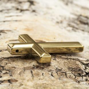 Berlock Kors hematit 32x44 mm, Guldfärg (st)
