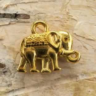 Berlock Elefant 14x12 mm, Guldfärg (5st)