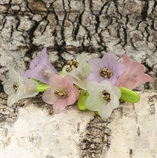 Pärlhållare Blomma frostad akryl 12x16 mm, Rosa (10st)